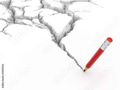 Crack and pencil