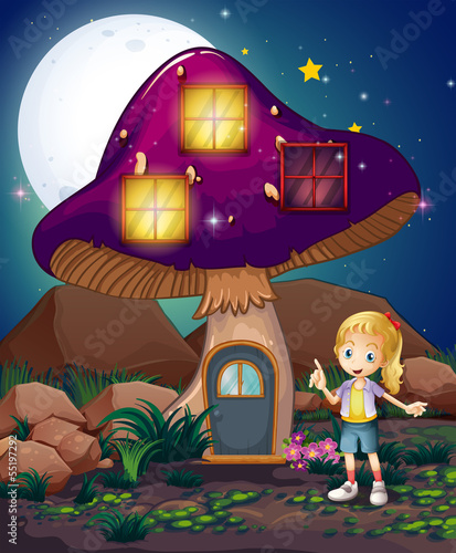 A cute girl standing beside the magical mushroom house
