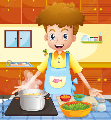 A kitchen with a man cooking
