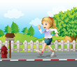 A girl jogging at the street