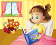 A small girl reading a storybook inside her room
