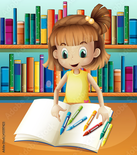 A girl with her empty notebook and crayons standing in front of