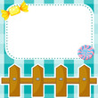 A stationery design with candies and fence