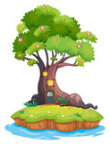 A giant tree in an island