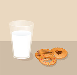 Cookies and glass with milk