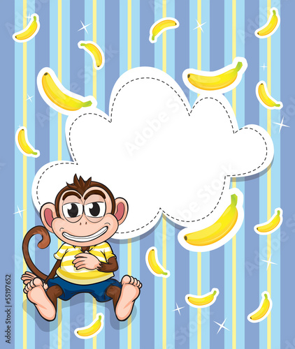 A stationery with a monkey and bananas