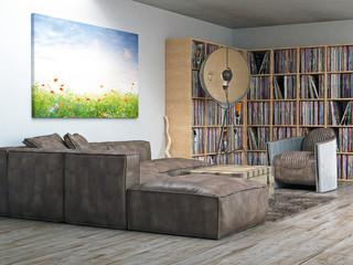 Wohnzimmer Ecke Vinyl Sammlung