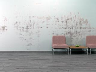 Vintage Sitzgruppe vor alter Wand