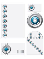 Blue textured company vector set 2