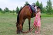 Cute girl with arabian horse