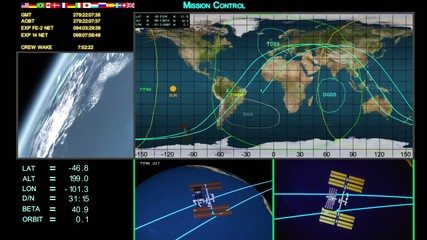 Mission control screen's of space station and shuttle