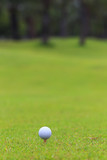 Golf ball on teeing area over a blurred green. Shallow depth of