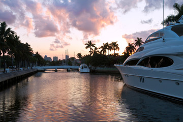 A yatch in the amazing dusk scene at Fort Lauderdale, Miami
