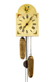 Antique wall clock isolated, with iron pendular
