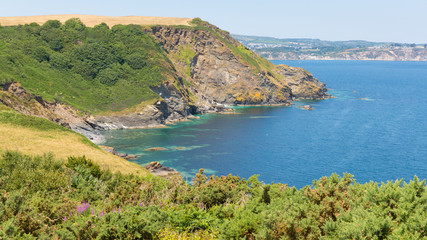 View of St Austell Bay from Black Head Cornwall England