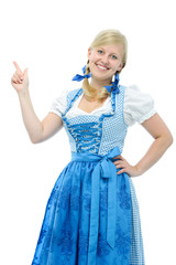girl in dirndl points her finger upwards