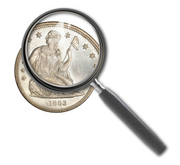 Coin dollar and magnifying glass