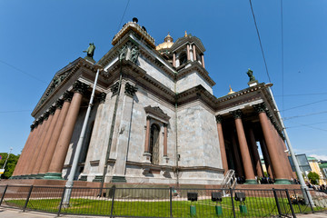 Facade of Saint Isaac Cathedral in Saint Petersburg, Russia.