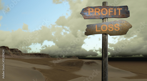sign direction profit - lost