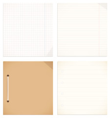 Vector isolated collection of notebook, copybook leaves