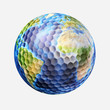 Golf ball isolated on white background, with earth planet map.