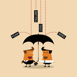 Businessman with umbrella protects by partnership.