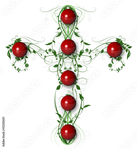 Green Floral Crosswith red ball  on white