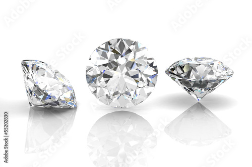 Leinwanddruck Bild diamond jewel on white background. High quality 3d render