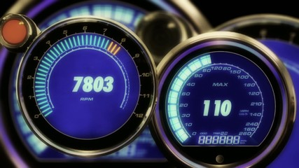 Looping digital RPM and Speed gauges, 1080