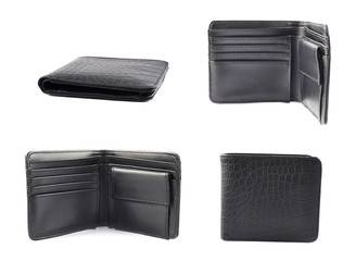 Black leather wallet isolated