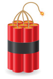 explosive dynamite with a burning fuse vector illustration
