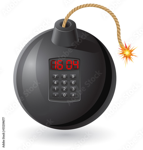 black bomb with a burning fuse and clockwork vector illustration
