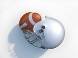 American football helmet with ball isolated.