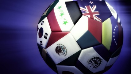 Soccer ball rotating with light rays and countries,Looping