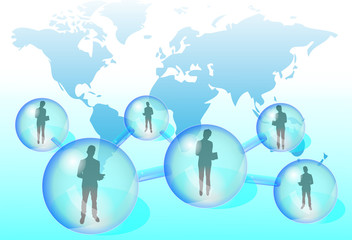 Illustration of business people with tablet in social network