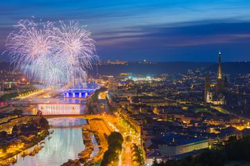 Fireworks over Rouen