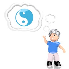 ying yang symbol  thought by a 3d character