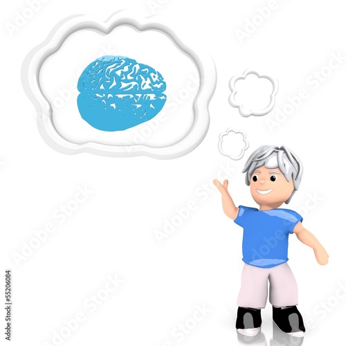 3d render of a thinking brain sign  thought by a 3d character
