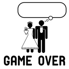Funny wedding symbol with speech bubble - Game Over