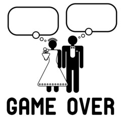 Funny wedding symbol with speech bubbles - Game Over