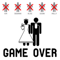 Funny wedding symbol - Game Over