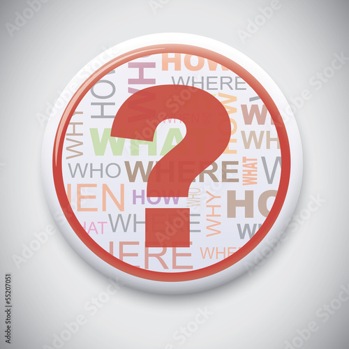 Question Mark - Vector Pin / Button Badge
