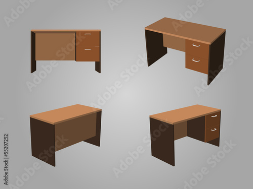 Brown office table Vector