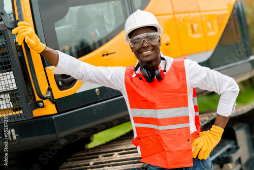Construction worker with a crane