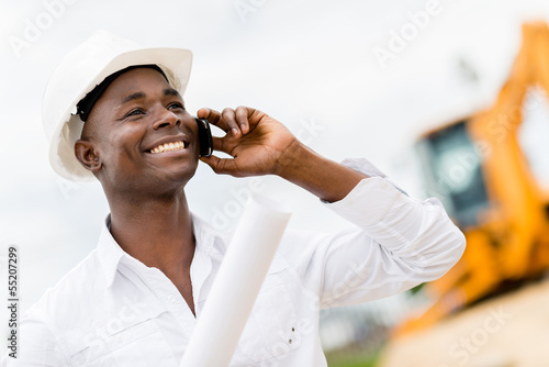 Architect making a business call