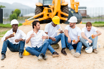 Construction workers on a break
