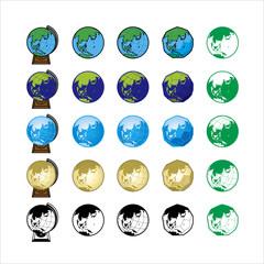地球と地球儀のイラスト