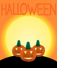 3 Halloween pumpkin on orange background with castle and text