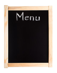 Menu written on blackboard