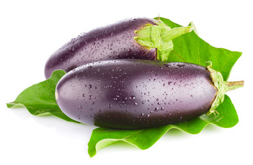 eggplant with green leaf isolated on white background